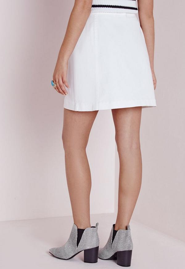 Button Through Denim Skirt White - Skirts - Mini Skirts - Missguided