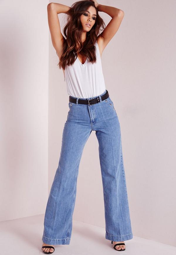 Wide Leg Jeans Stonewash Blue