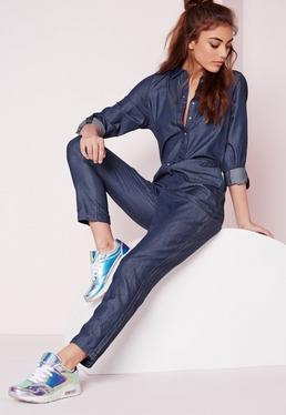 Lightweight Denim Boiler Suit Indigo
