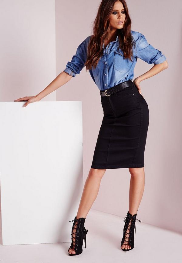 High Waisted Midi Denim Skirt Black