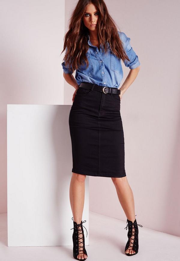 high waisted midi denim skirt black missguided