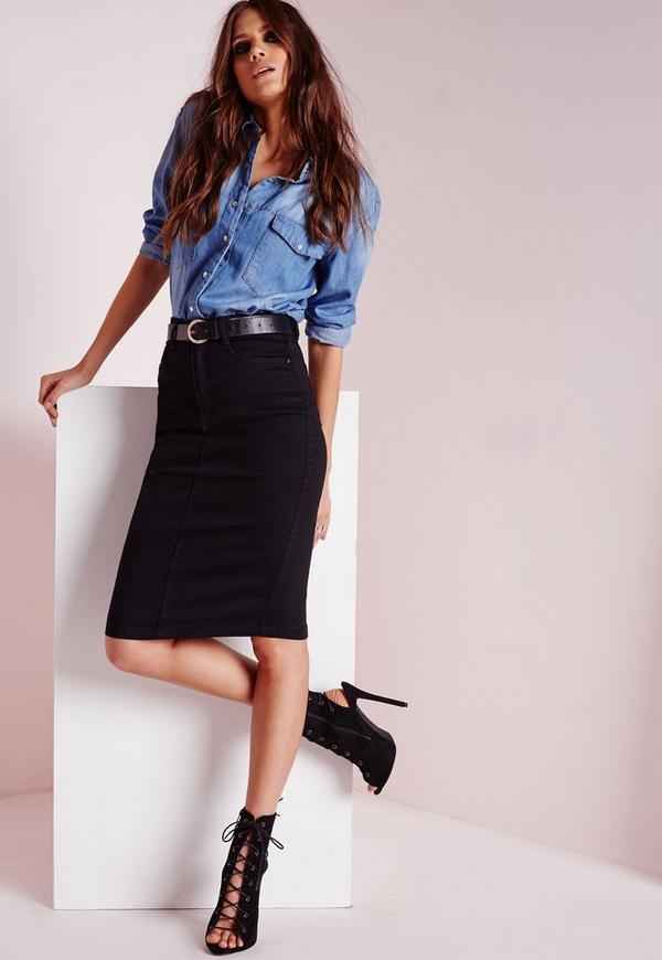High Waisted Midi Denim Skirt Black - Denim - Denim Skirts ...