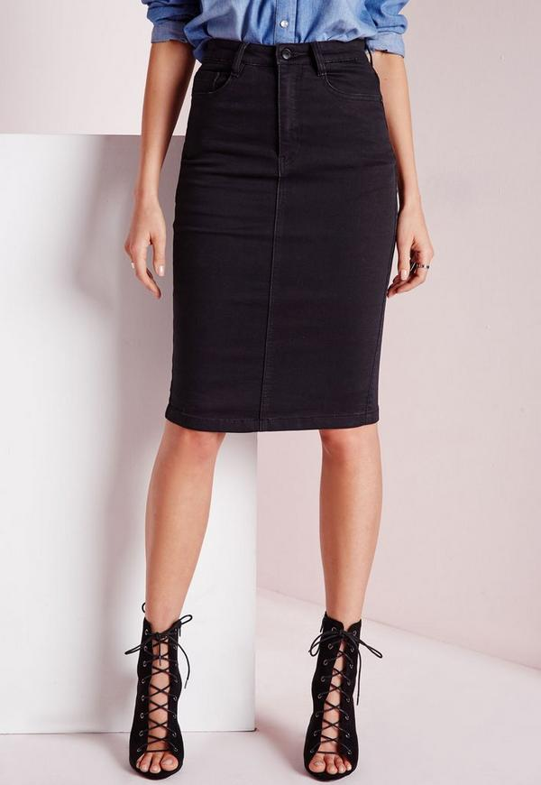 High Waisted Midi Denim Skirt Black | Missguided