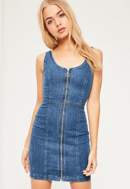 Robe ajustée en jean bleu indigo