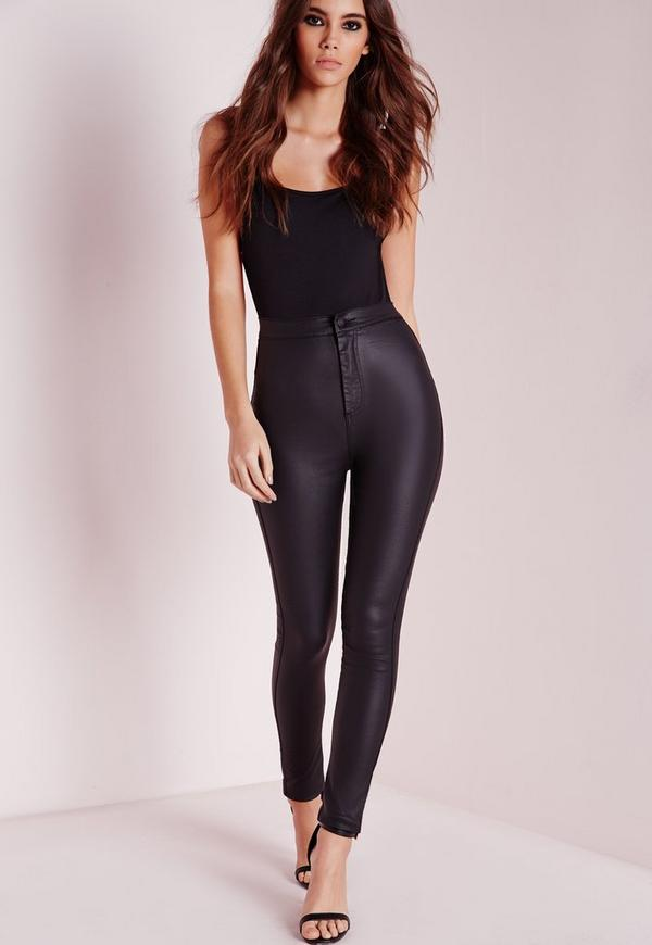 Vice Super Stretch Wet Look High Waisted Coated Skinny Jeans Black