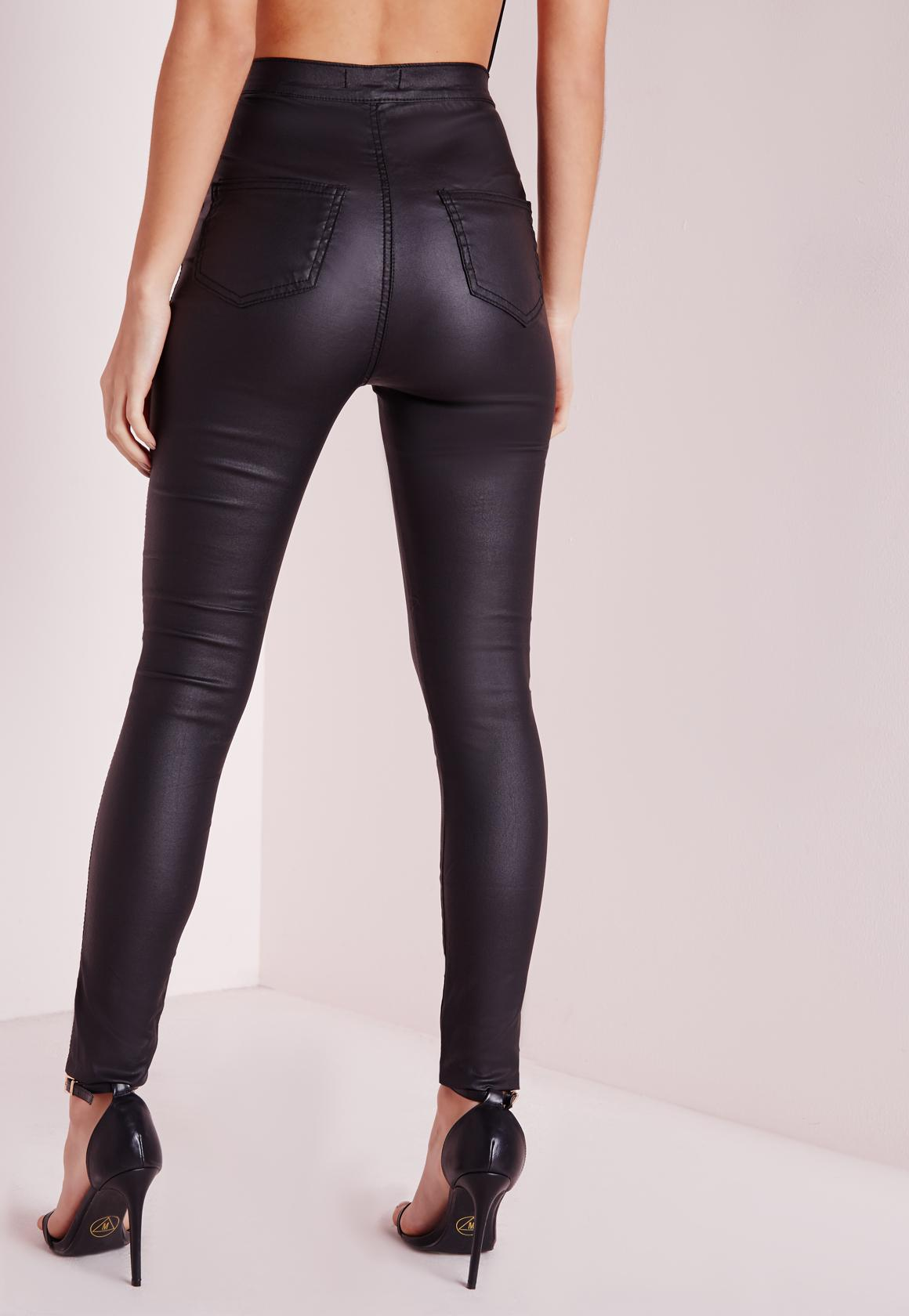 Vice Wet Look High Waisted Skinny Jeans Black Coated - Denim