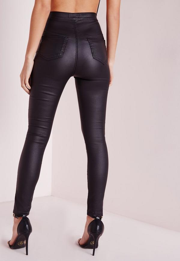 Vice Super Stretch Wet Look High Waisted Coated Skinny Jeans Black ...