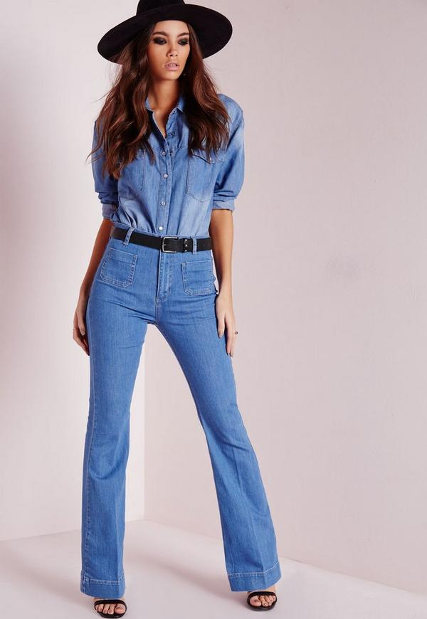 Wild Child Pocket Detail 70's Flared Jeans Blue