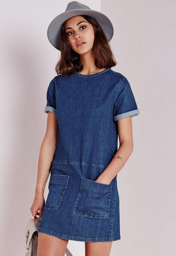 Pocket Detail Denim Dress Stonewash Blue