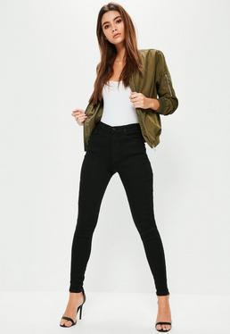Jean skinny noir à taille moyenne Hustler