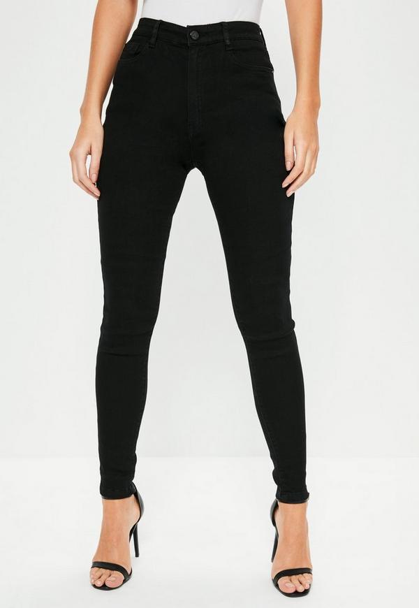 Hustler Mid Rise Skinny Jeans Black | Missguided