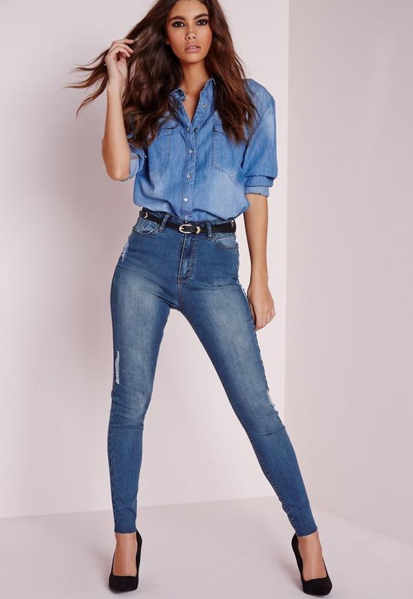 Sinner High Waisted Ripped Skinny Jeans Vintage Indigo