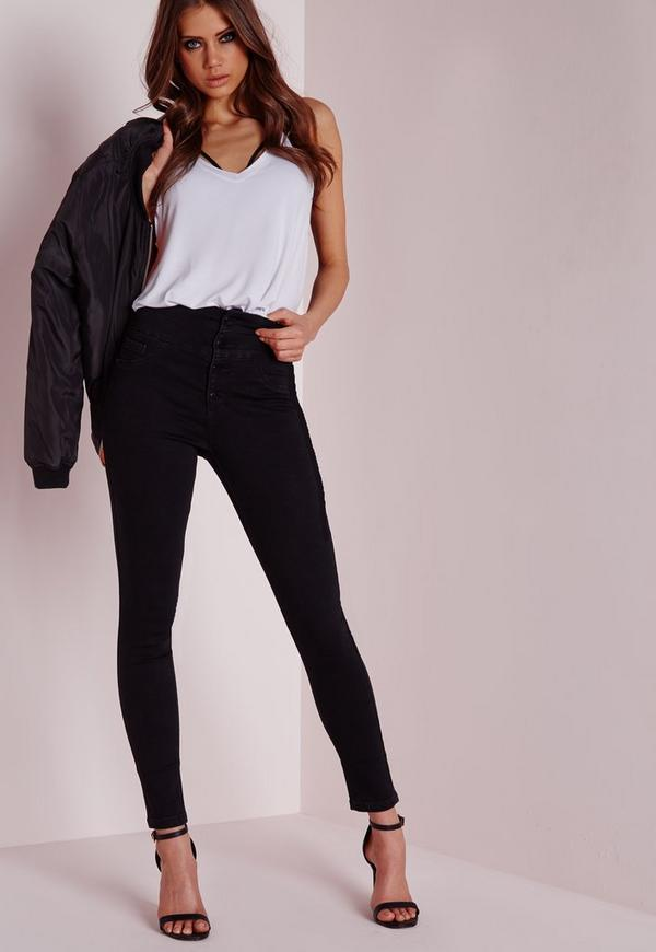 Sinner Superstretch High Waisted Skinny Jeans Black