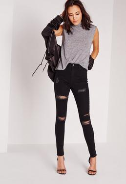 Sinner High Waisted Ripped Skinny Jeans Black
