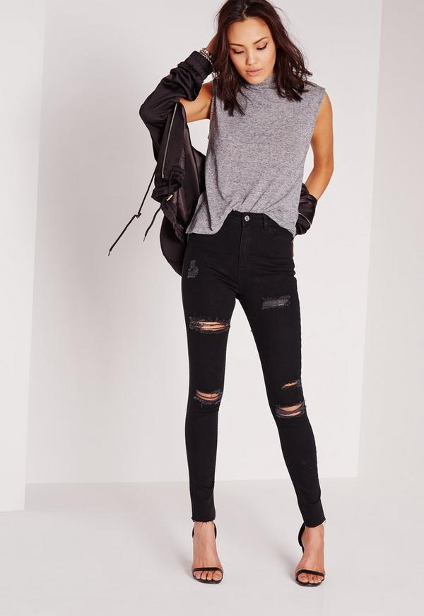 Sinner High Waisted Extreme Rip Skinny Jeans Black | Missguided