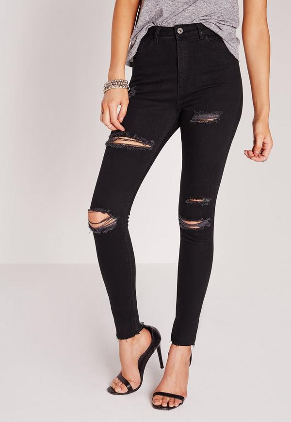 Sinner High Waisted Ripped Skinny Jeans Black. Previous Next - Sinner High Waisted Ripped Skinny Jeans Black Missguided