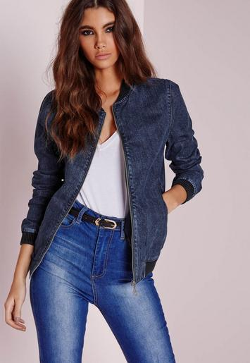 denim bomber jacket indigo blue missguided