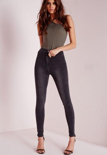vice high waisted skinny jeans grey missguided. Black Bedroom Furniture Sets. Home Design Ideas