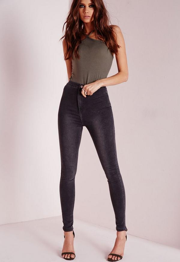 Vice High Waisted Skinny Jeans Grey