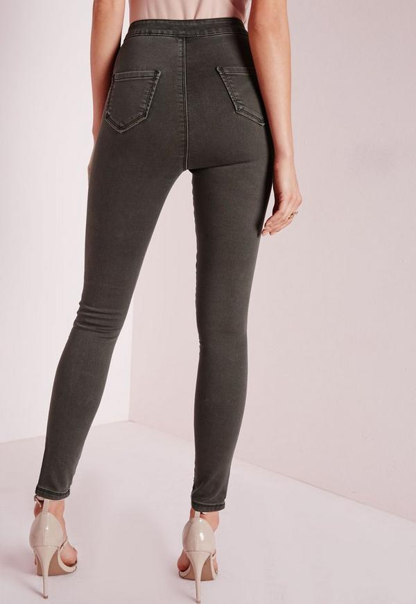 jean skinny taille haute vert kaki vice missguided. Black Bedroom Furniture Sets. Home Design Ideas