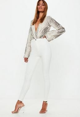 Jean skinny blanc taille haute Vice