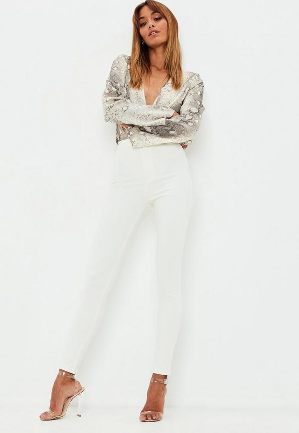 Vice High Waisted Skinny Jeans White   Missguided