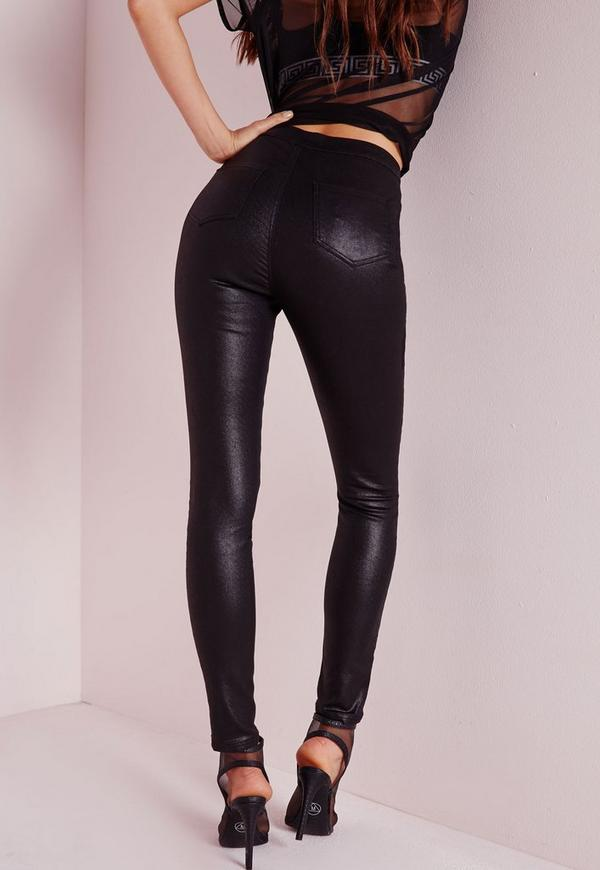 Black leather coated skinny jeans