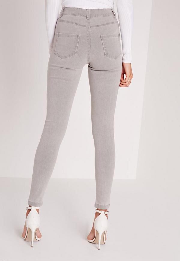 Grey mid rise skinny jeans