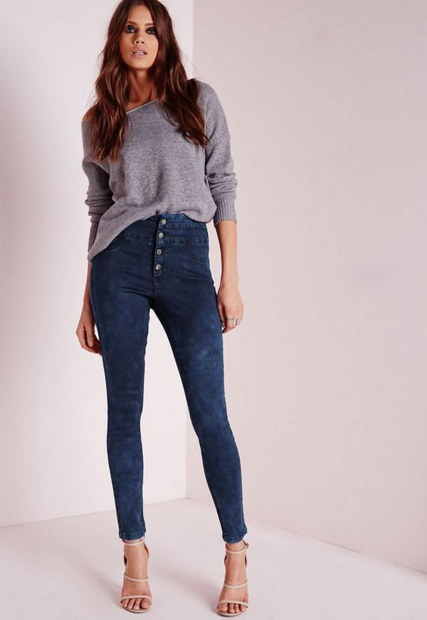 Sinner High Waisted Skinny Jeans Mottled Blue