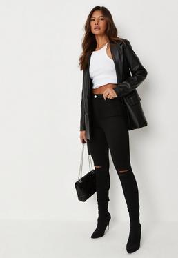 Black Vice High Waisted Slash Knee Skinny Jeans
