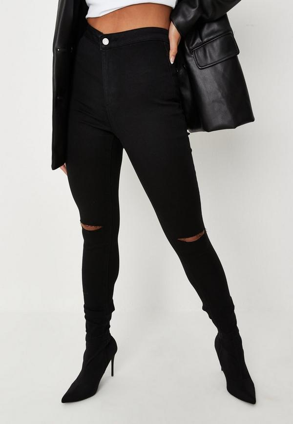 Black Vice High Waisted Slash Knee Skinny Jeans | Missguided