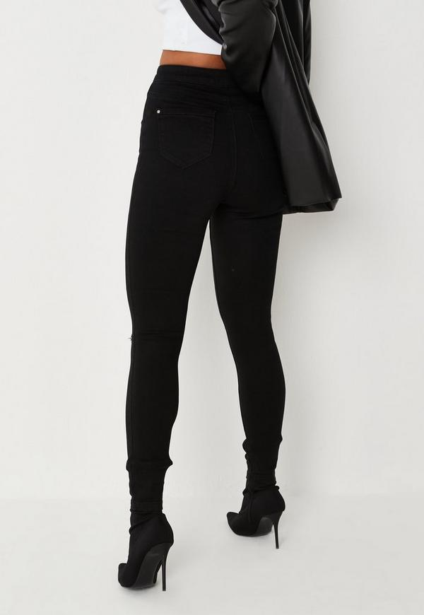 Vice High Waisted Slash Knee Skinny Jeans Black. Previous Next - Vice High Waisted Slash Knee Skinny Jeans Black Missguided