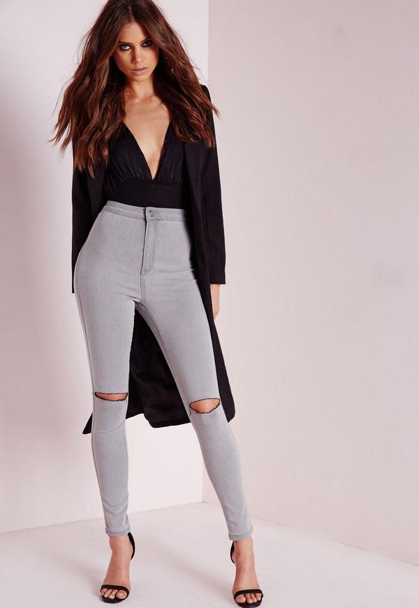 vice high waisted slash knee skinny jeans grey