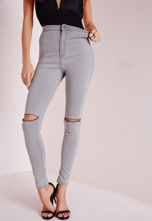 vice high waisted slash knee skinny jeans grey| Missguided