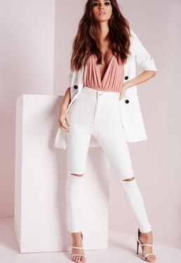 Vice High Waisted Slash Knee Skinny Jeans White