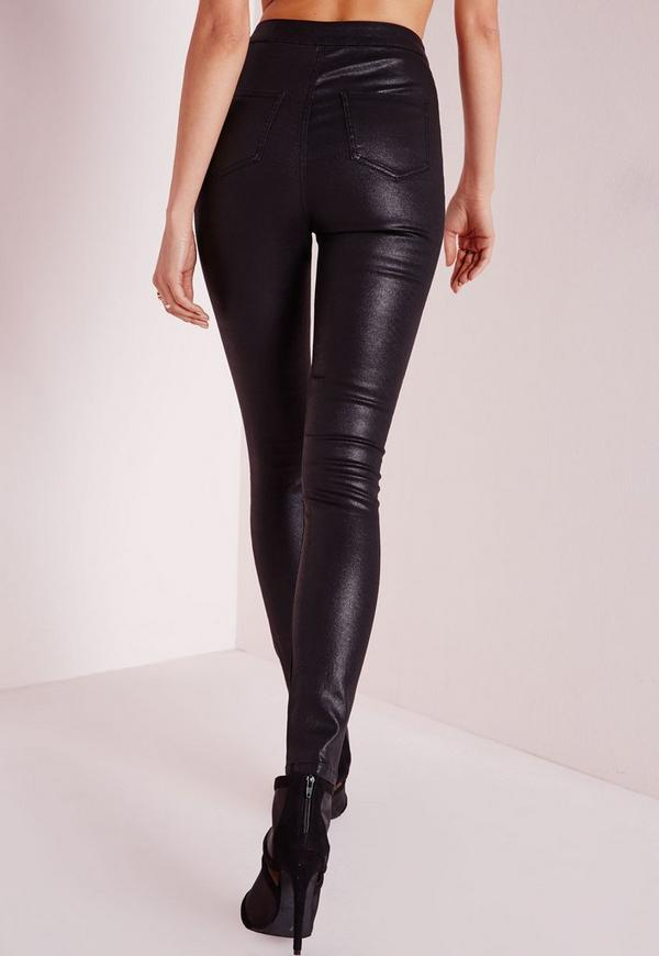 Vice High Waisted Ripped Knee Skinny Jeans Black - Missguided