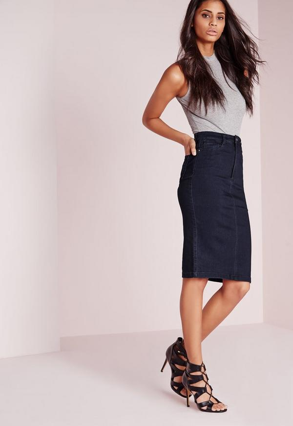 High Waisted Midi Denim Skirt Indigo