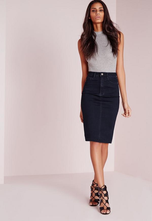 high waisted midi denim skirt indigo missguided