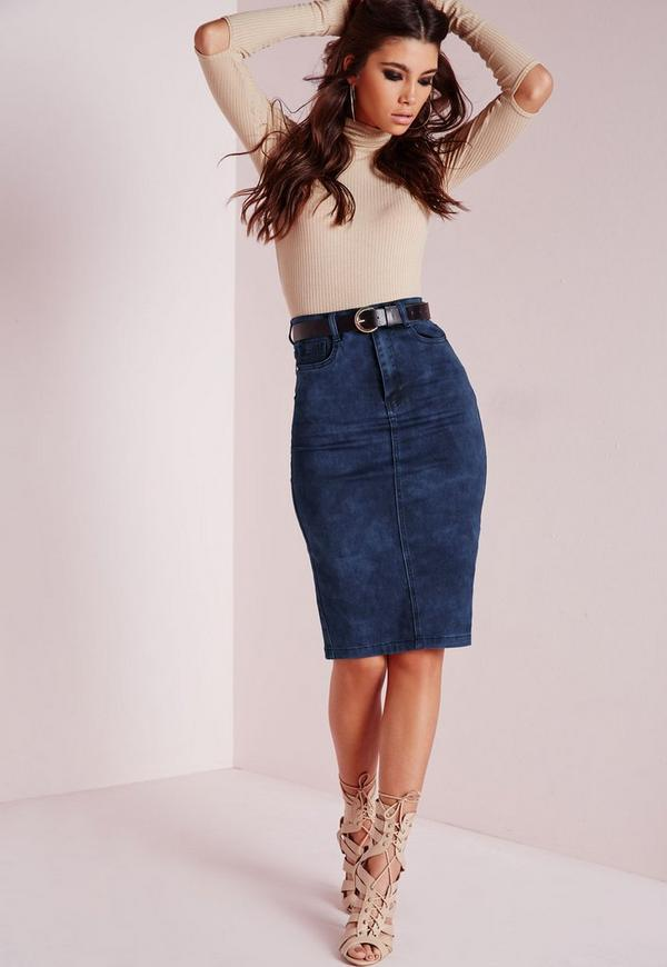 High Waisted Midi Denim Skirt Mottled Blue