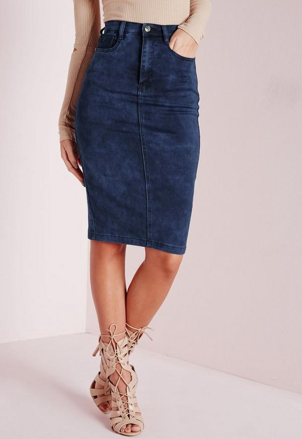High Waisted Midi Denim Skirt Mottled Blue | Missguided