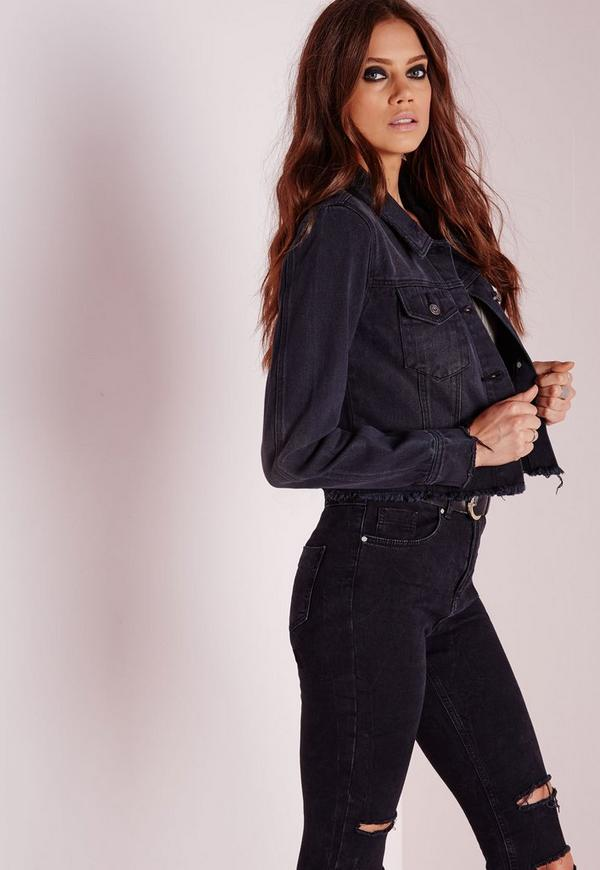 Cropped Raw Hem Denim Jacket Black | Missguided