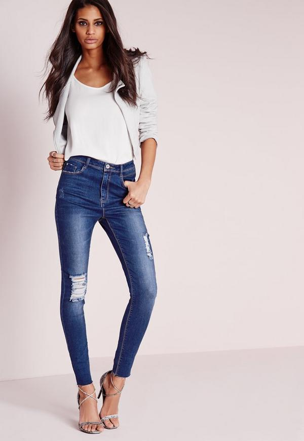 Sinner High Waisted Distressed Skinny Jeans Retro Blue
