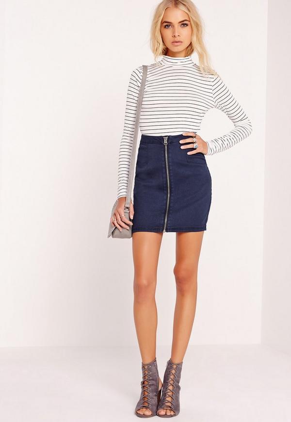 Zip Through Denim Mini Skirt Indigo