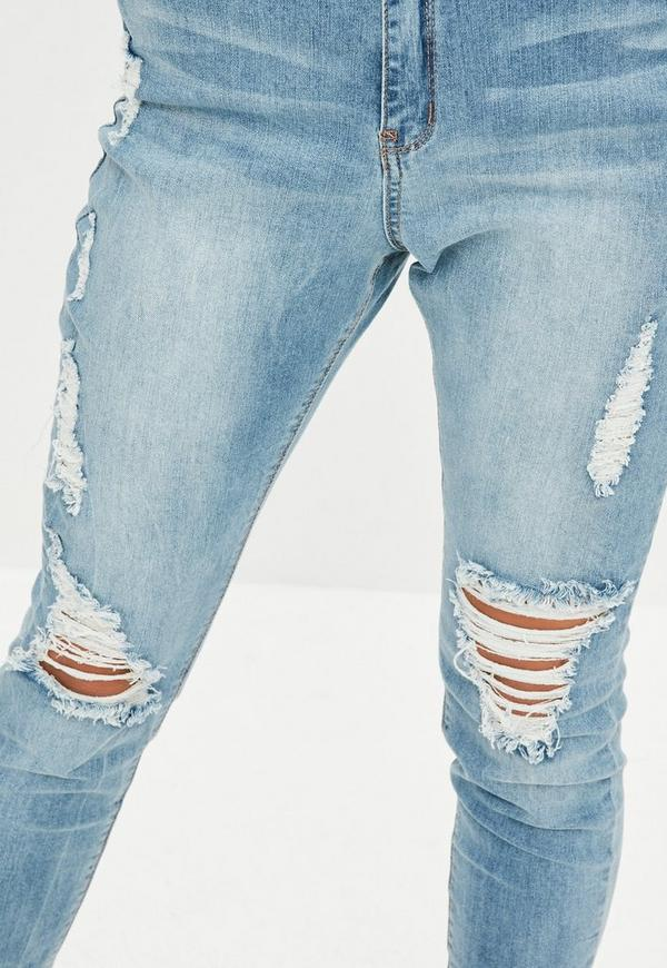 Sinner High Waisted Marbled Skinny Jeans Light Blue | Missguided