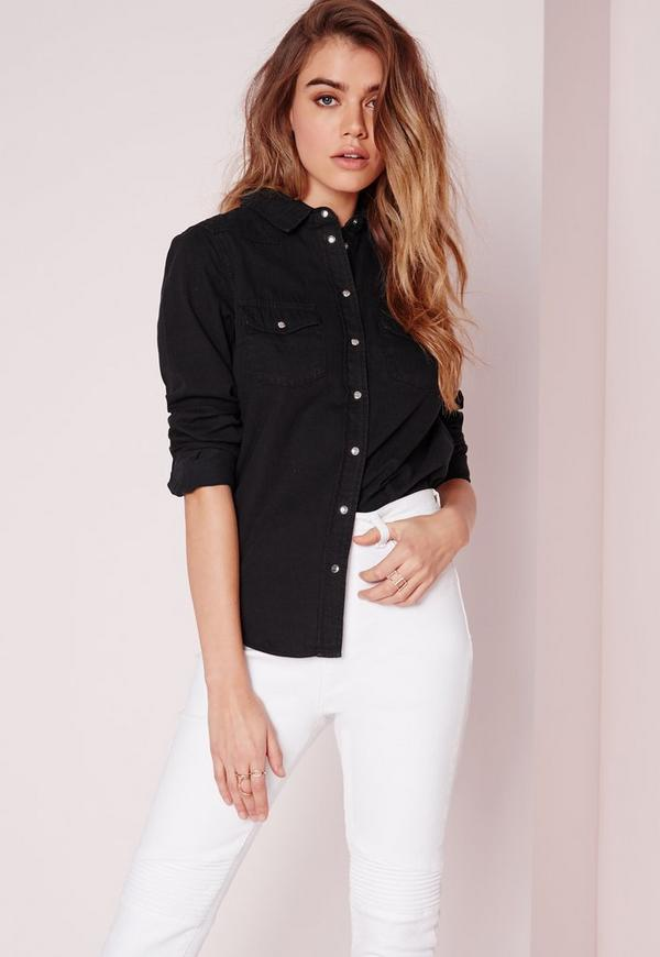 Denim Shirt Washed Black