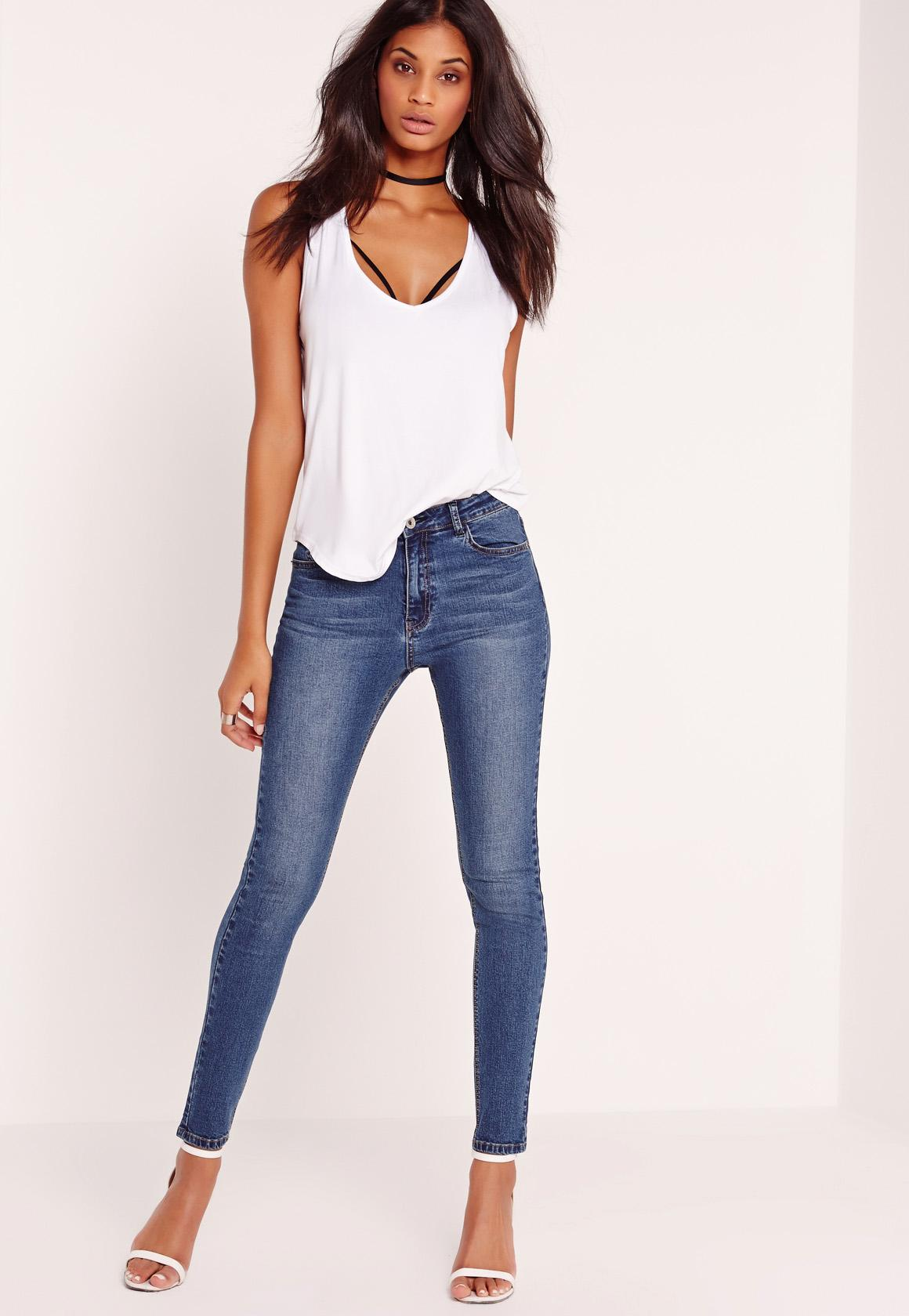 Hustler Mid Rise Skinny Jeans Vintage Blue