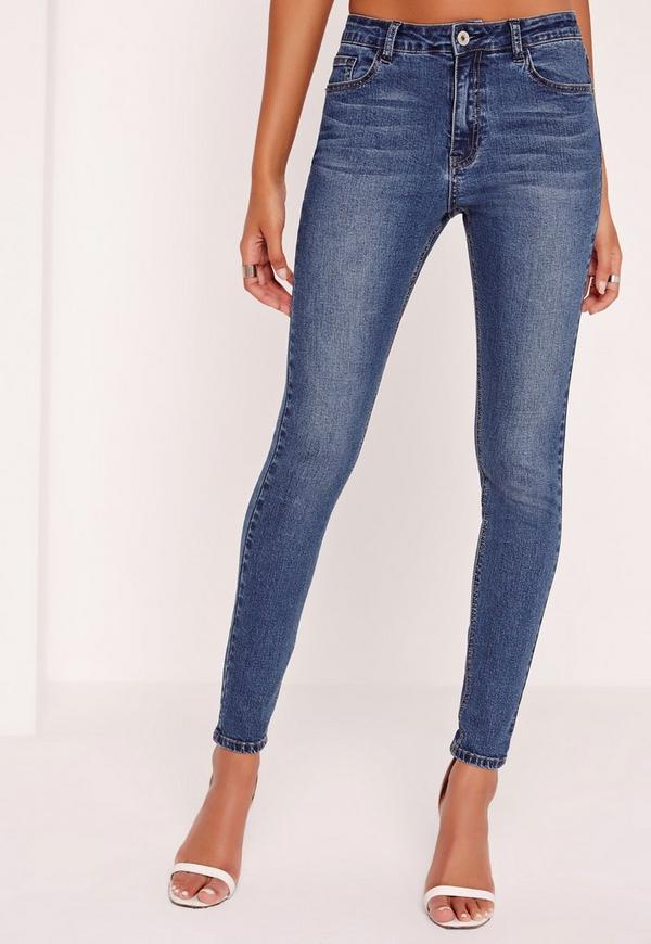 Hustler Mid Rise Skinny Jeans Vintage Blue | Missguided