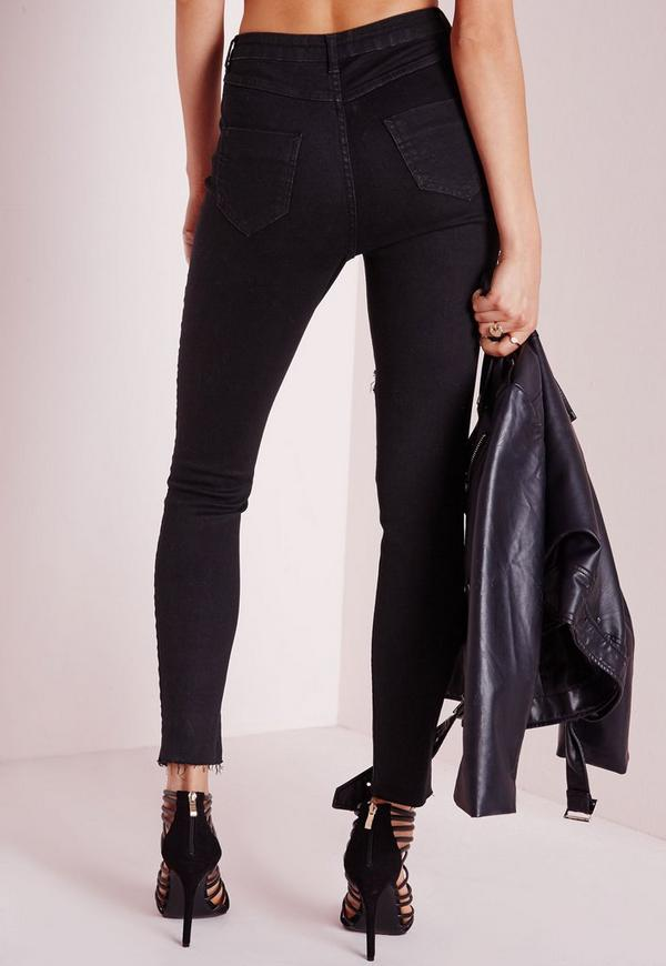 Sinner High Waisted Extreme Rip Skinny Jeans Black - Missguided