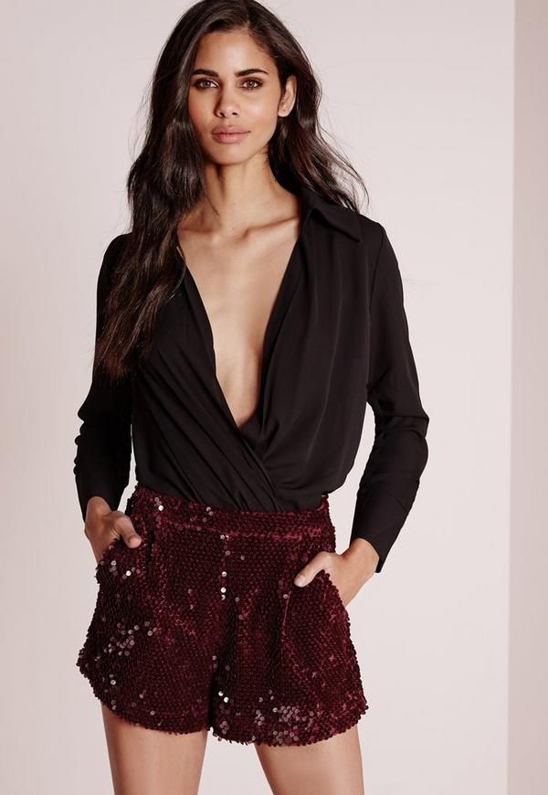 Velour Sequin High Waisted Shorts Burgundy