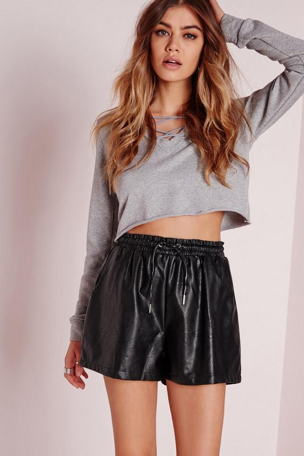 Elasticated Waist Faux Leather Shorts Black